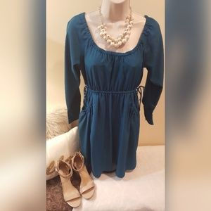 Xhilaration Teal Dress with Adjustable Waist